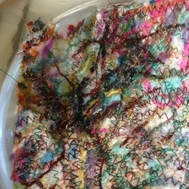 Immerse the finished stitching until it is saturated